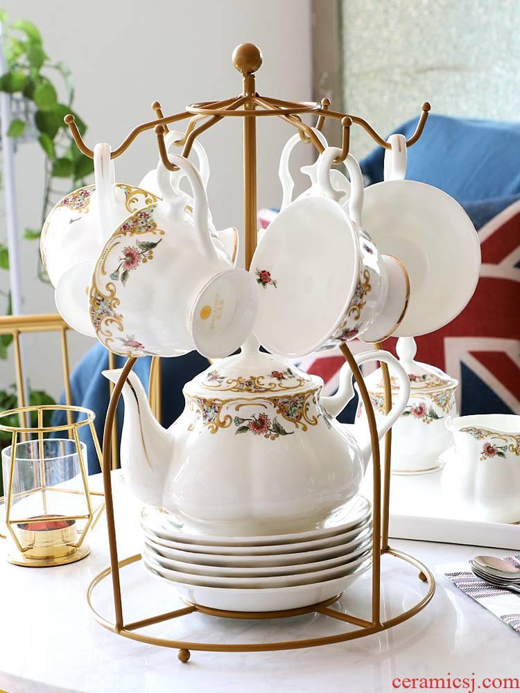 Ou tea sets of household ceramic coffee set English afternoon tea pot cup tea tea set with light key-2 luxury gift boxes