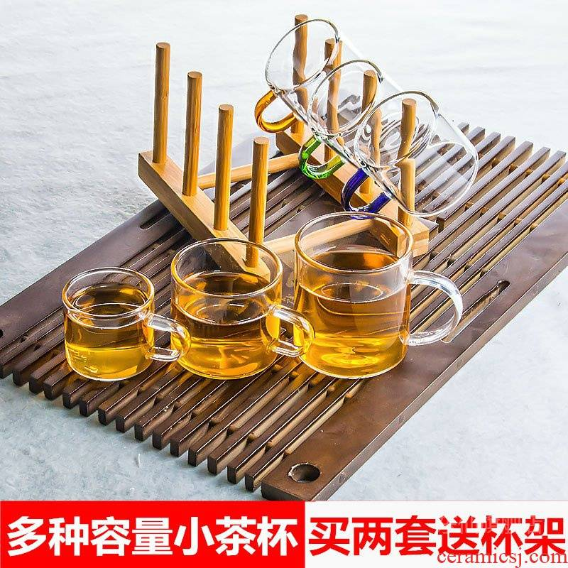 The small glass cup with little sample tea cup transparent glass heat of kung fu tea set more suit kunfu tea cup