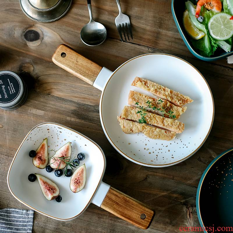 Creative ceramic wooden Nordic made wooden handle his bowl on the salad bowl of Japanese rainbow such as bowl food tableware soup bowl