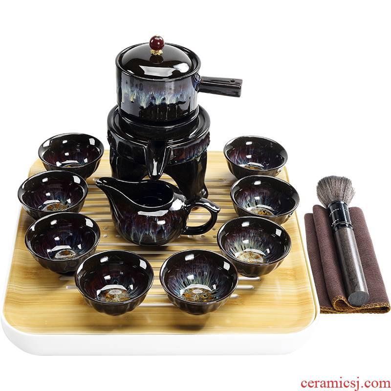Household temmoku glazed pottery kilns to get built automatically atone teapot tea cups of lamp that kung fu tea set
