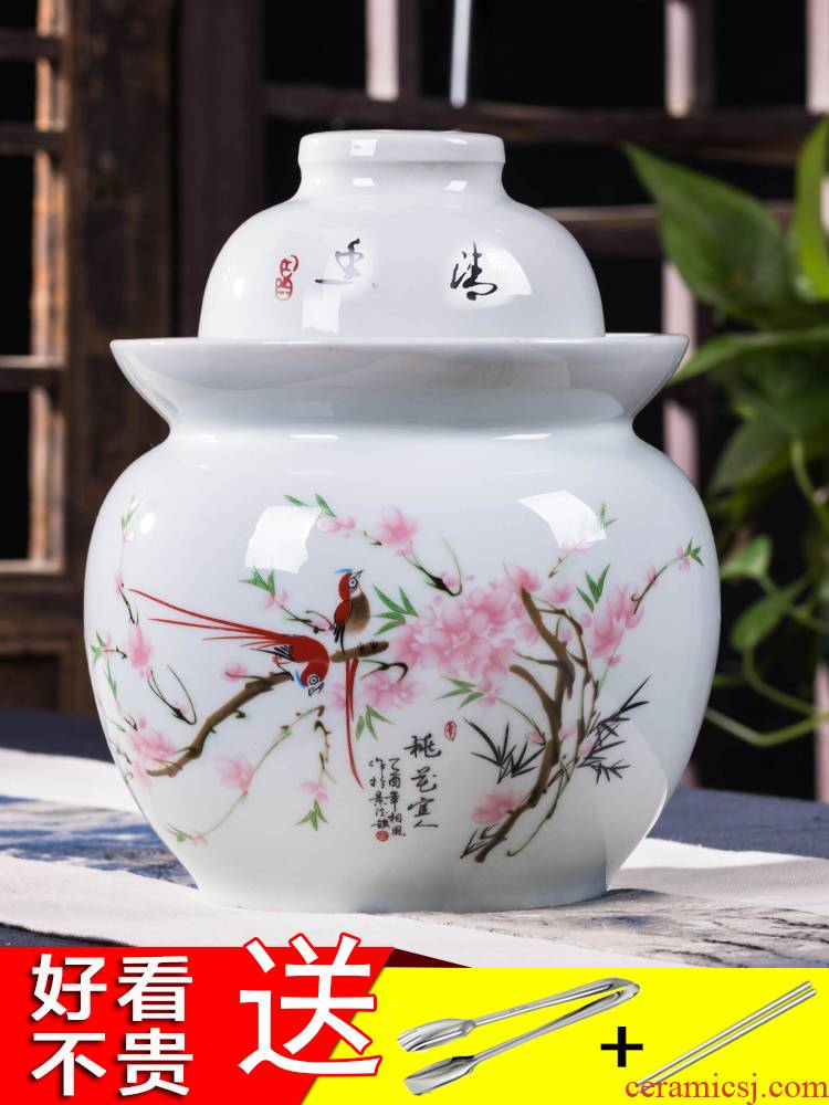 The Pickle jar earthenware household small altar sichuan Pickle jar YanYa dense eggs pickled kimchi jingdezhen ceramics