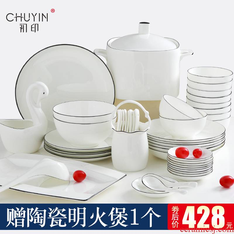 Home dishes suit jingdezhen ceramic tableware suit Nordic character combination bowl chopsticks plate suit for dinner