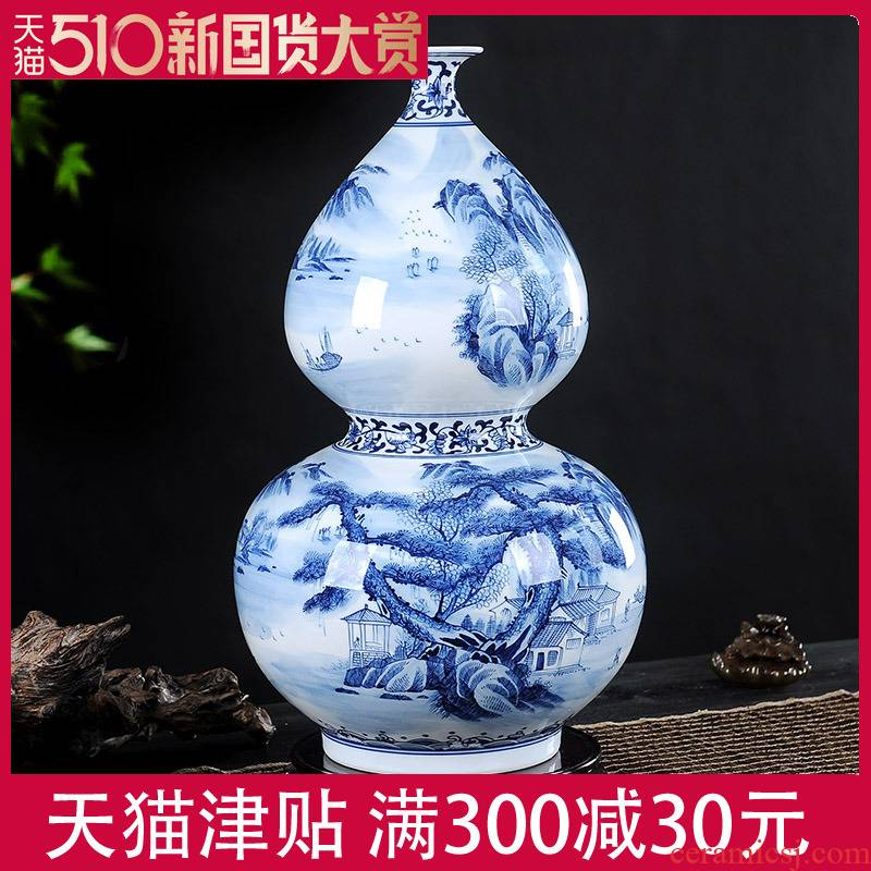 Jingdezhen blue and white porcelain vase gourd furnishing articles opening gifts large sitting room adornment version into the manual