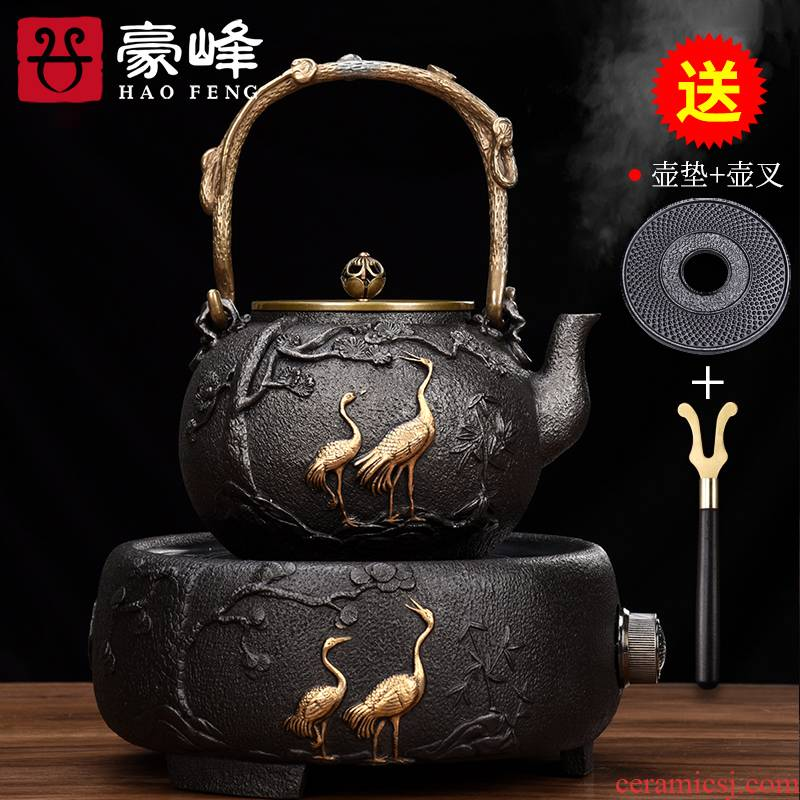 HaoFeng Japanese size iron pot of tea kettle cordless retro teapot manual cast iron pot of tea set