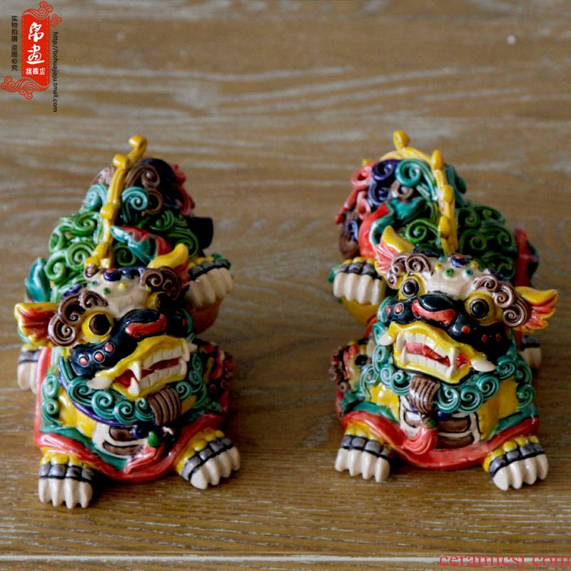 Jingdezhen ceramic furnishing articles colorful kirin lion household act the role ofing is tasted, the mythical wild animal ceramic furnishing articles furnishing articles