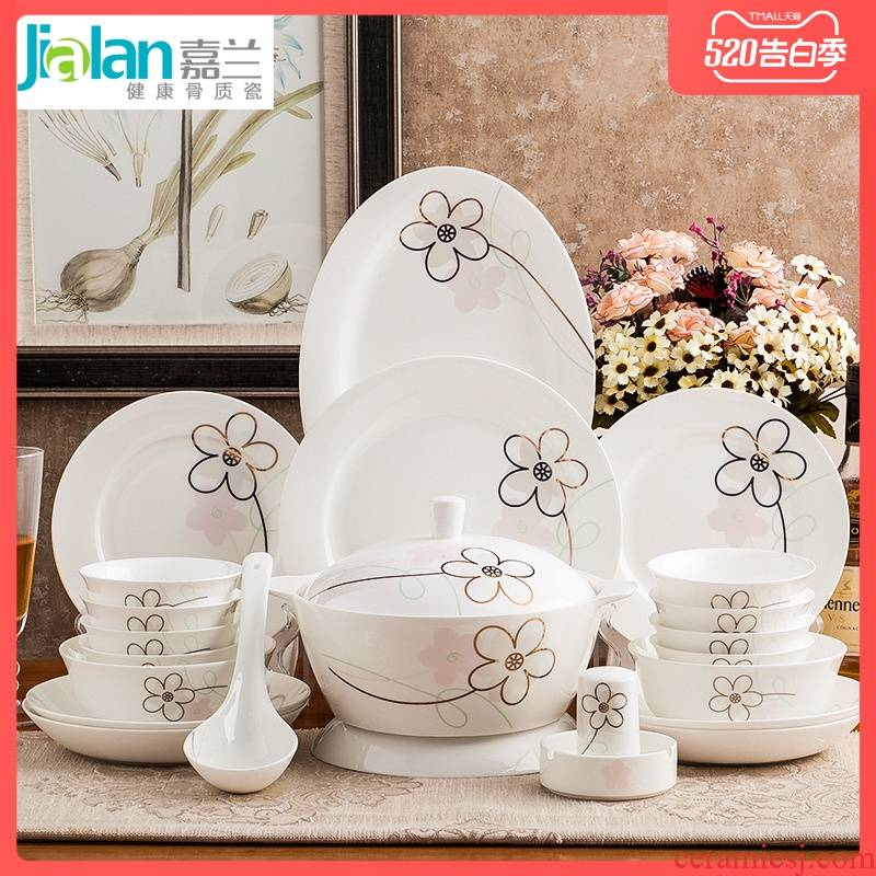 Garland ipads porcelain tableware and contracted and pure and fresh household optional dish plate spoon practical free collocation with large soup bowl