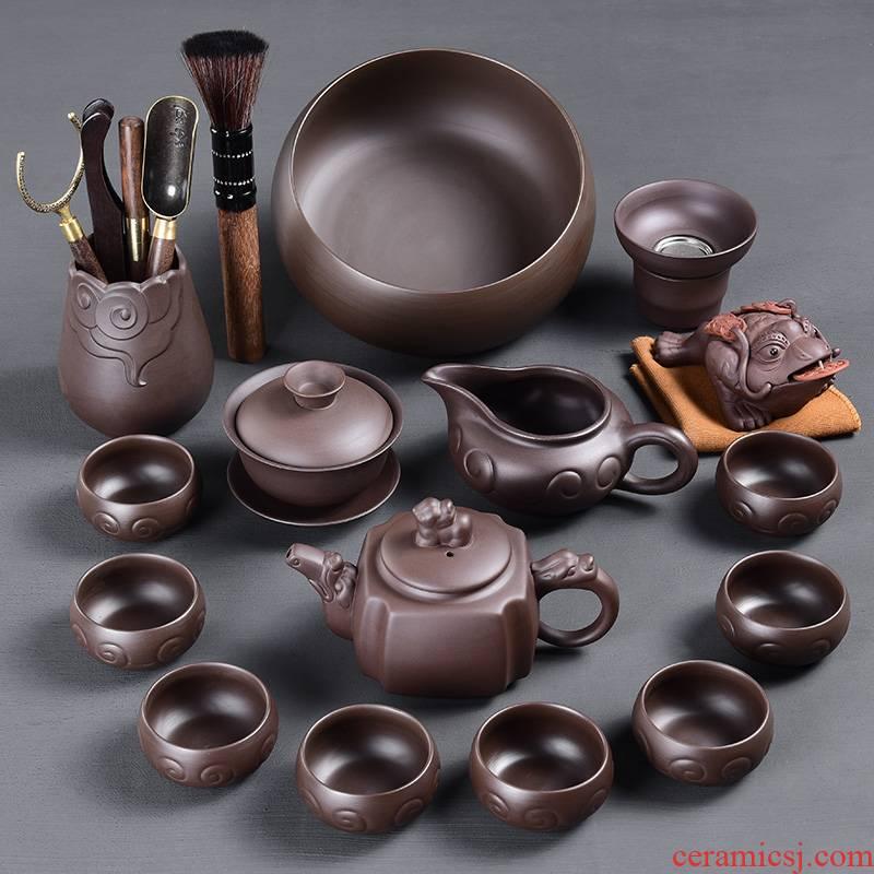 Tao blessing ancient violet arenaceous kung fu tea set suit household zisha teapot teacup tea tea set suit group