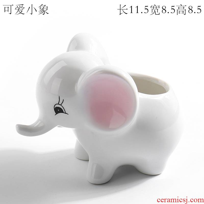 White elephant creative move more lovely delicate flesh POTS ceramic small thumb cartoon specials without pallets