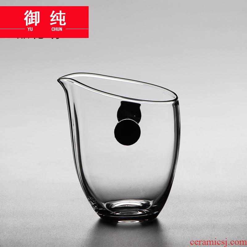 Royal pure high temperature heat - resistant glass fair keller contracted solid wood in hand and a cup of tea set transparent points of tea, Japanese tea