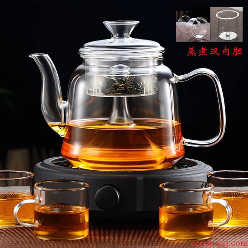 Glass teapot electric TaoLu boiled tea steamer steaming tea ware household high - temperature steam distillation kettle to thicken the tea set