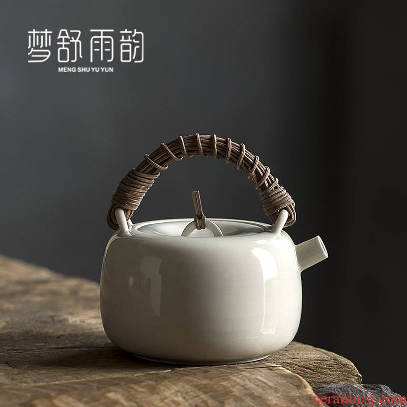 Dream ShuYu rhyme manually the cane top service up the teapot ceramics single pot of tea kungfu tea set filter girder pot of Japanese