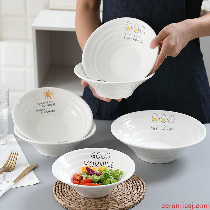 Japanese ceramic bowl pull rainbow such use creative household tableware mercifully rainbow such use salad bowl hat to bowl of horn bowl large soup bowl