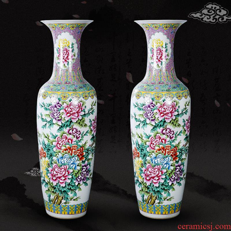 Jingdezhen archaize pastel hand - made peony large vase sitting room hotel big landing place Chinese feng shui