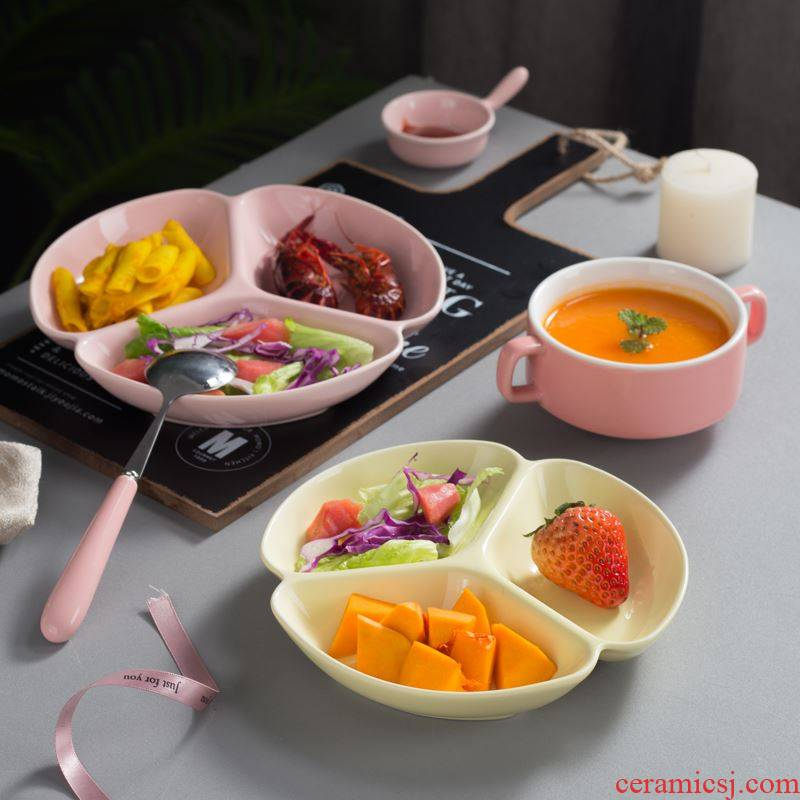 Creative dinning plate meal plate frame ceramic household small plate packing food dish three dishes for breakfast