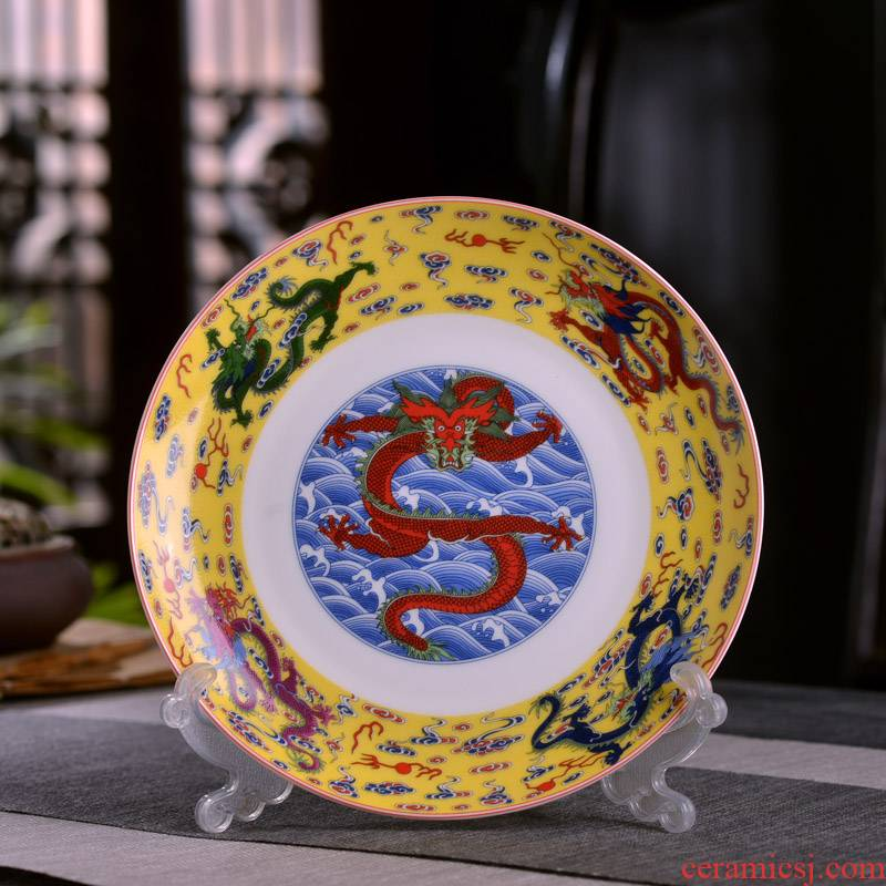 New Chinese style household ipads porcelain of jingdezhen ceramics deep flat little flavor dish slag disc ipads plate antique dragon pattern plate