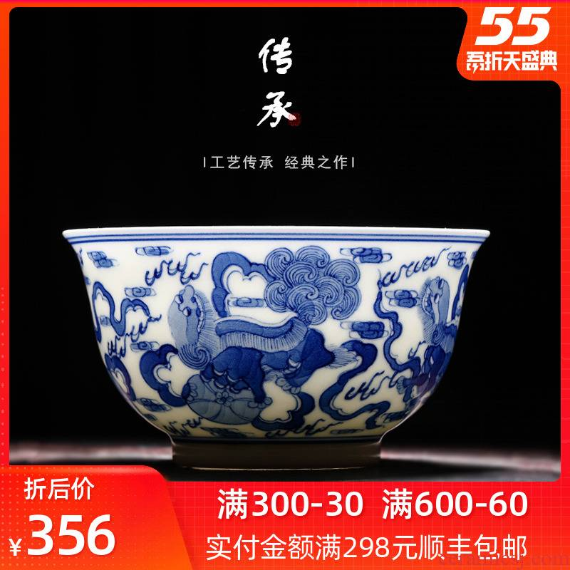 Blue and white porcelain tea cups a single large master cup hand - made archaize jingdezhen kung fu thin foetus sample tea cup