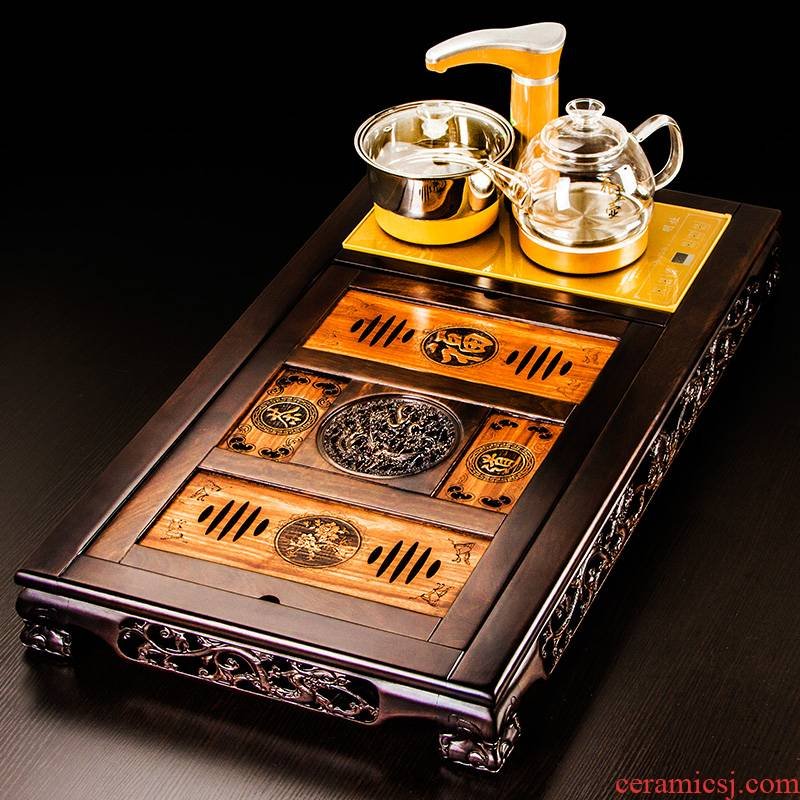Auspicious industry ebony visitor spend pear wood tea tray tea service office Chinese suit household automatic four unity
