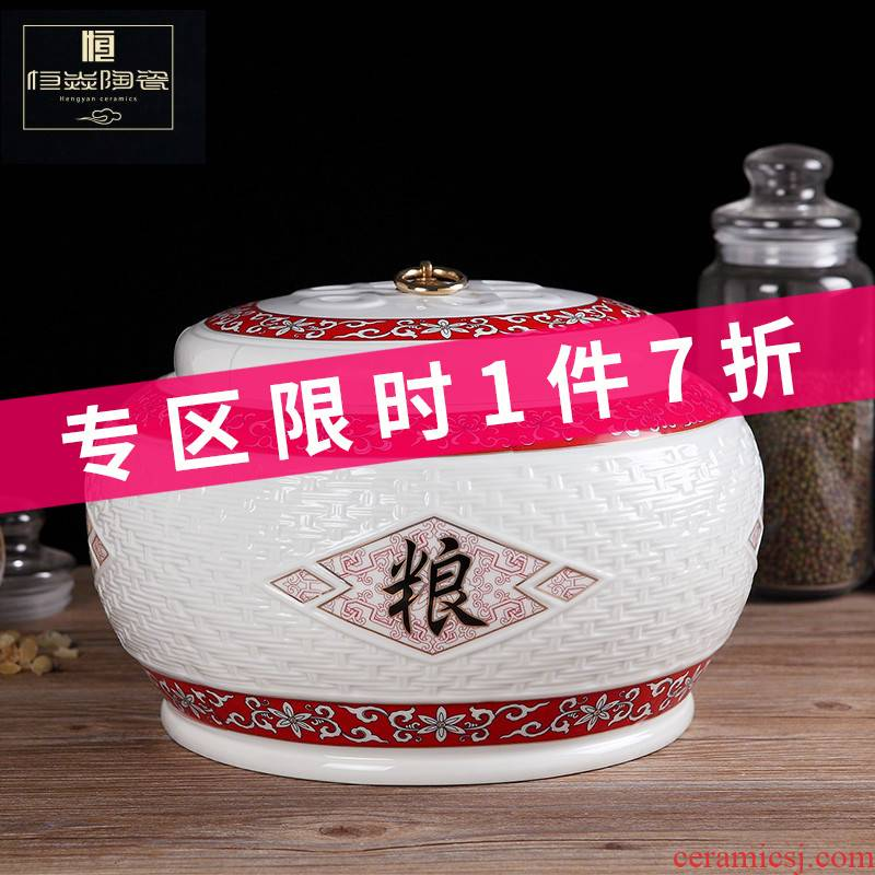 Jingdezhen ceramic barrel ricer box store meter box 10 kg sealed insect - resistant moistureproof with cover to ricer box flour cylinder household