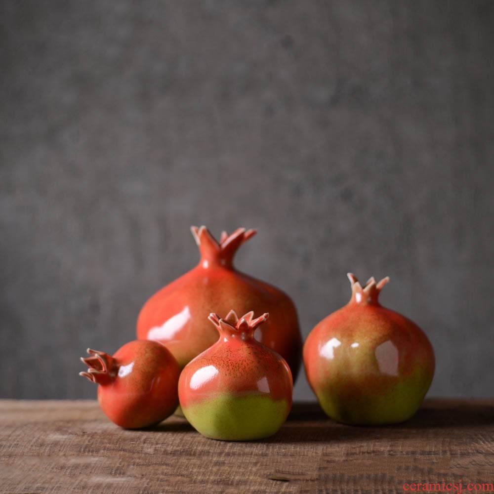 Ceramic pomegranate furnishing articles creative design home decoration Ceramic tea table accessories tea pet simulation fruit its
