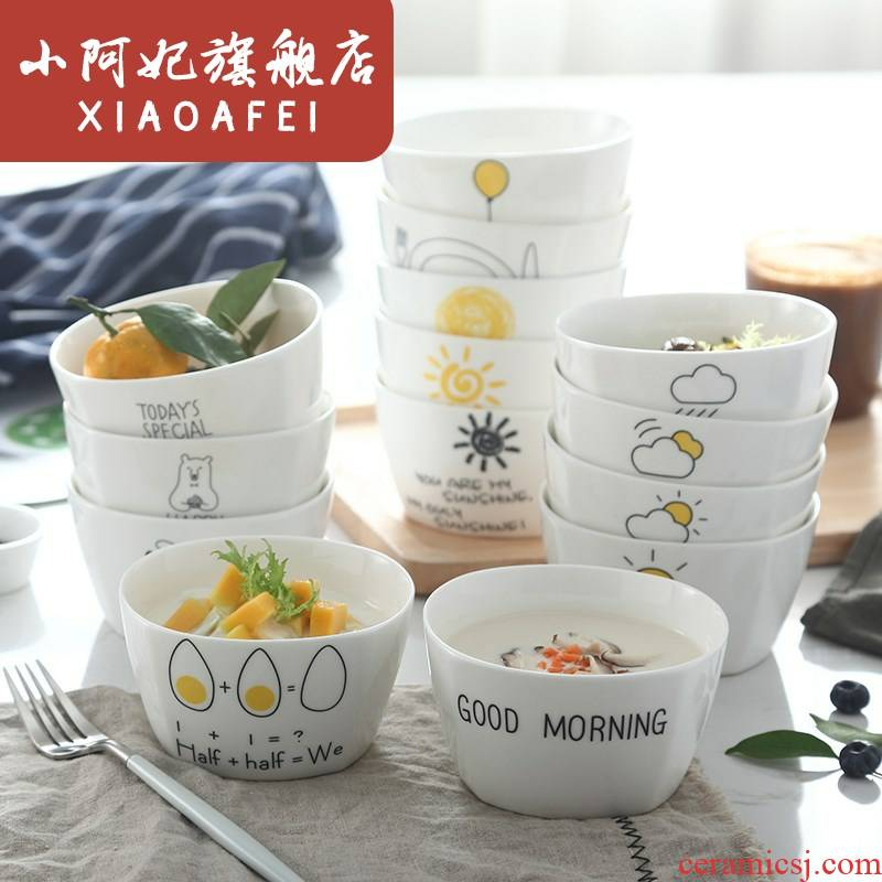 Creative cartoon ceramic tableware square bowl of Japanese eat rice bowls bowl can microwave household small bowl of soup bowl