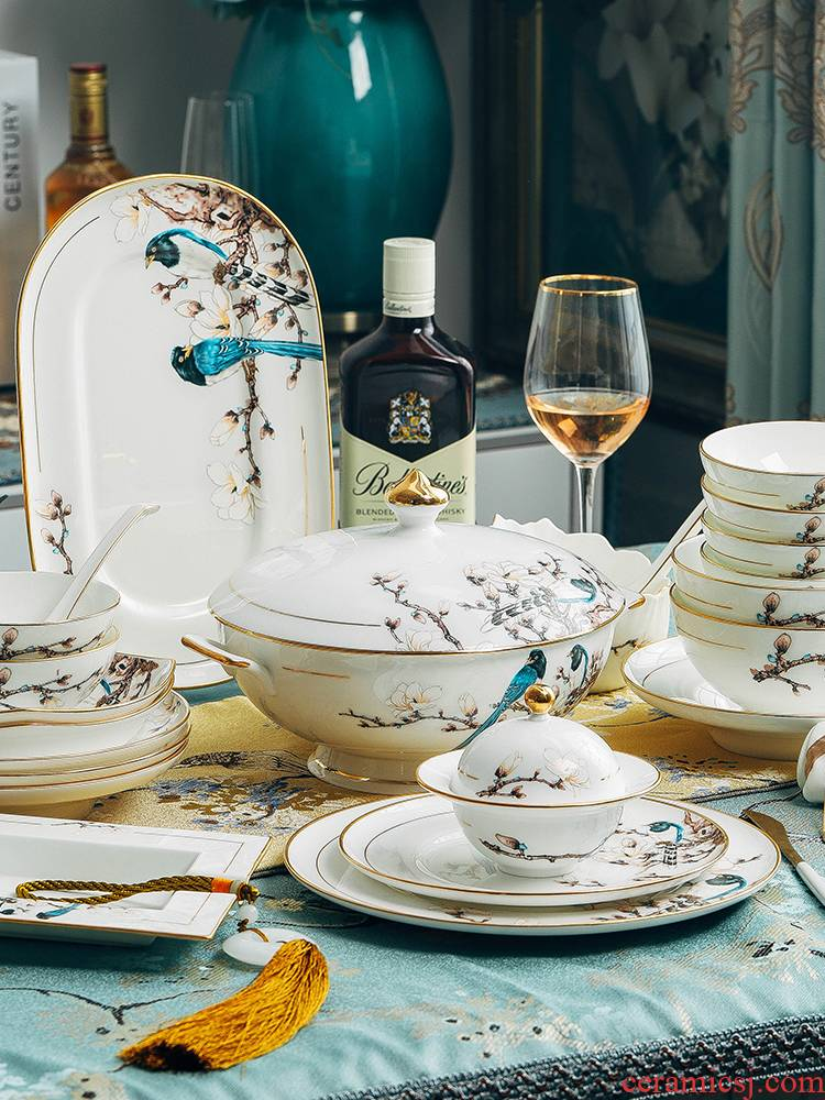 Blower, jingdezhen ceramic tableware suit dishes suit household ceramic bowl dishes chopsticks combination European - style originality