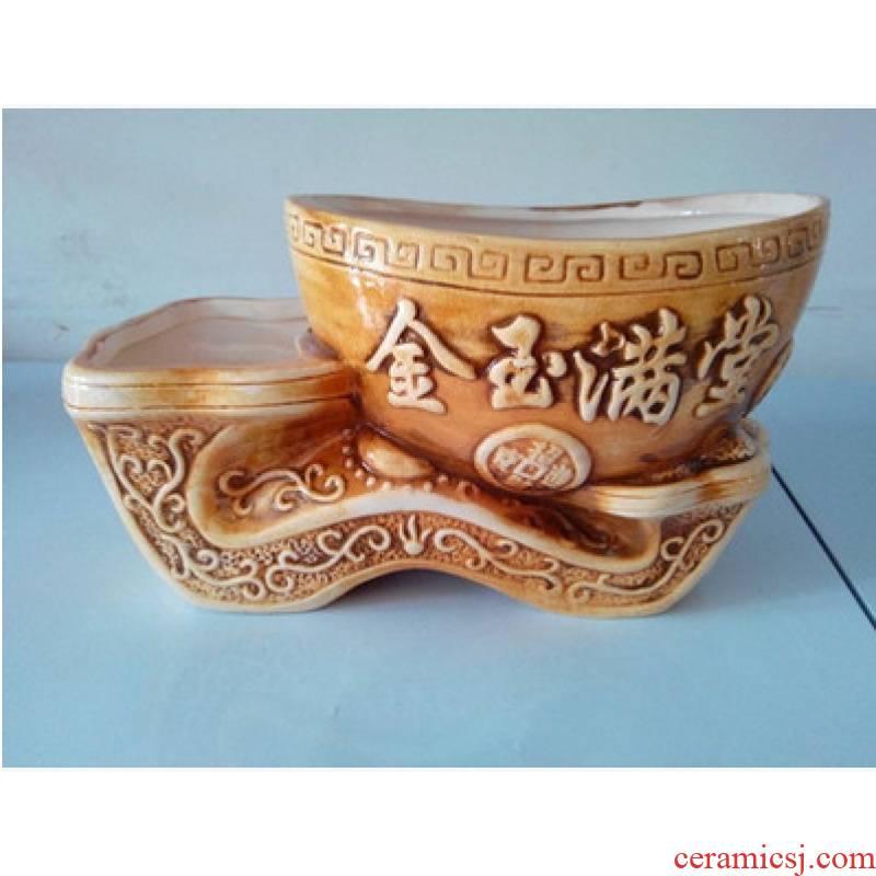 Fleshy ceramic flower pot creative contracted conjoined twin barrels flowerpot move profile duplex flowerpot large household ceramics