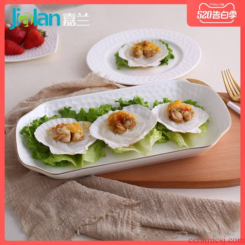 Garland ipads porcelain plate 12 inches deep dish household creative emboss Japanese oblong large - sized ceramic plates of sushi