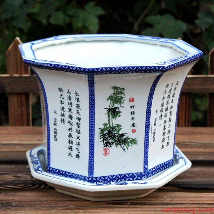 Thickening ceramic extra large blue and white flower pot anise fleshy send tray has a small hole, orchid basin hole, bracketplant desktop