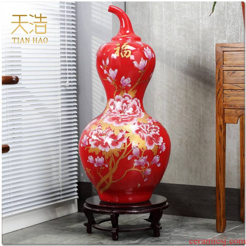Jingdezhen China red peony maxim gourd vase of large sitting room home decoration furnishing articles