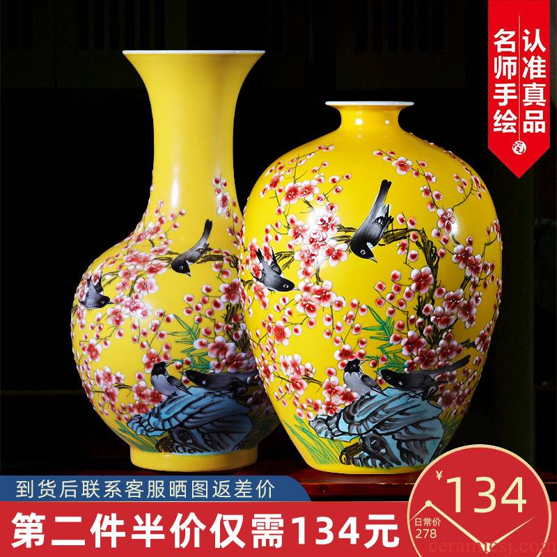 Jingdezhen ceramics hand - made vases, flower arranging furnishing articles of modern Chinese style household living room TV cabinet wine accessories