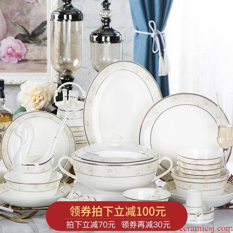 Orange leaf ipads porcelain tableware dishes suit Chinese style household European - style jingdezhen ceramics dishes chopsticks combination daisies
