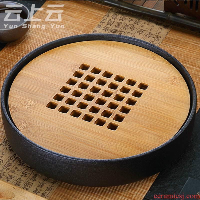 Cloud Cloud Japanese ceramic tea tray saucer dish water household bamboo kung fu tea set circular dry plate of tea table