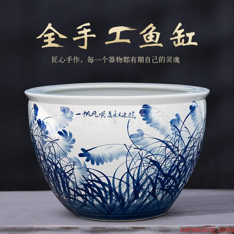 Jingdezhen ceramic aquarium tank extra large lotus brocade carp home sitting room ground feng shui plutus cylinder