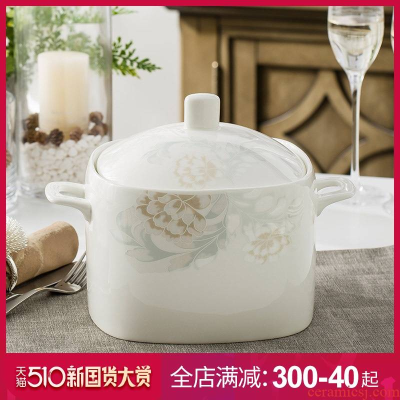 Ipads China big bowl soup pot nine inches pot soup of jingdezhen ceramics basin home with cover