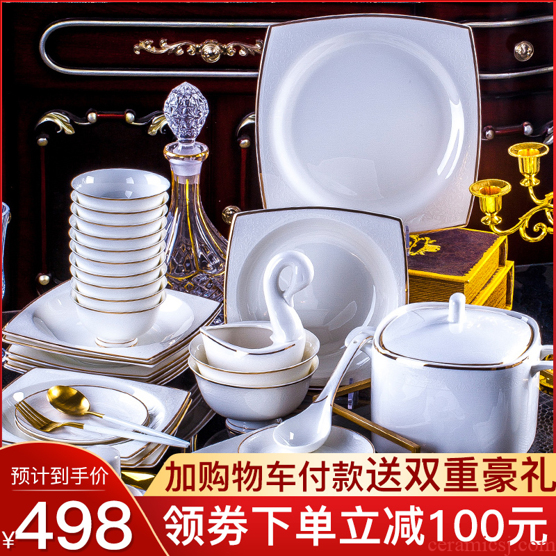 Dishes suit household contracted Europe type up phnom penh jingdezhen ceramic Dishes ipads porcelain tableware suit dish bowl set