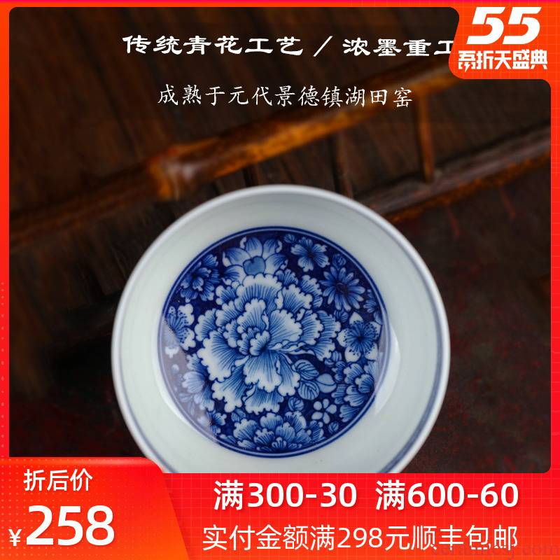 Bright blue and white porcelain cups product large single master cup jingdezhen kung fu tea set of pure hand - made sample tea cup under the glaze