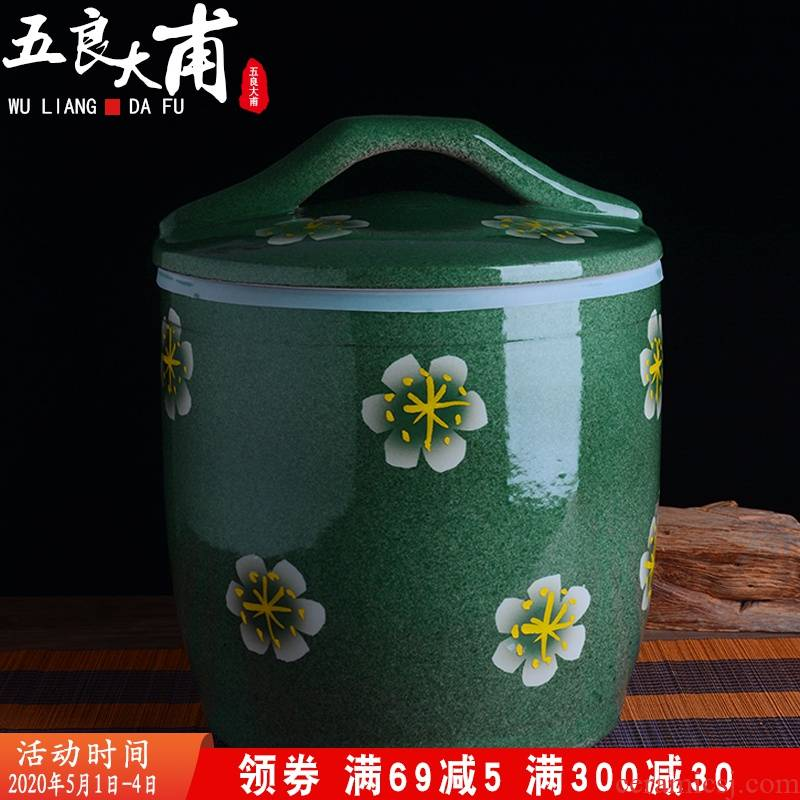 Jingdezhen ceramic barrel with cover home 10 jins 20 to 30 jins flour barrels old insect - resistant seal storage tank