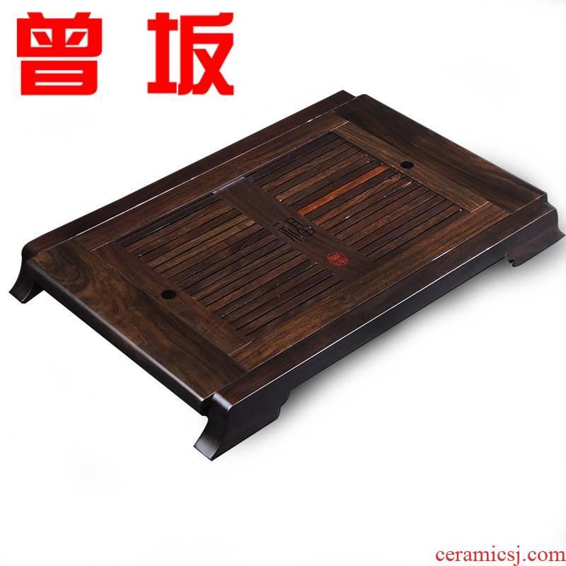 Once sitting ebony tea tray ebony wood tea table stainless steel chassis ground extension thickening tea tea set