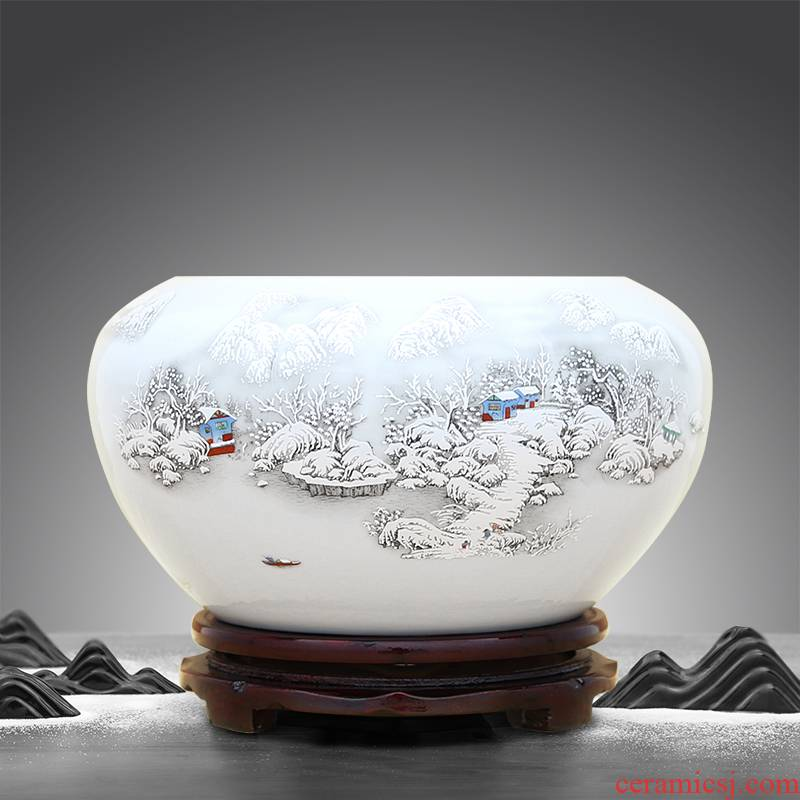 Jingdezhen ceramic aquarium tortoise cylinder water lily always sitting room place to live in a hydroponic flower implement decorations arts and crafts