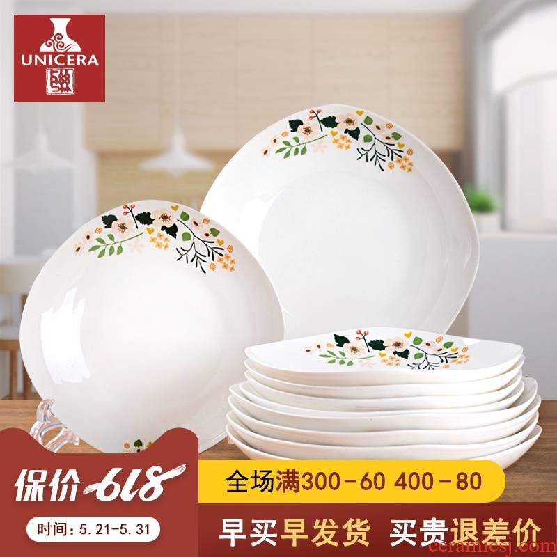 10 dish dish dish household combination suit ipads porcelain tableware jingdezhen ceramic creative dish plate of Chinese style