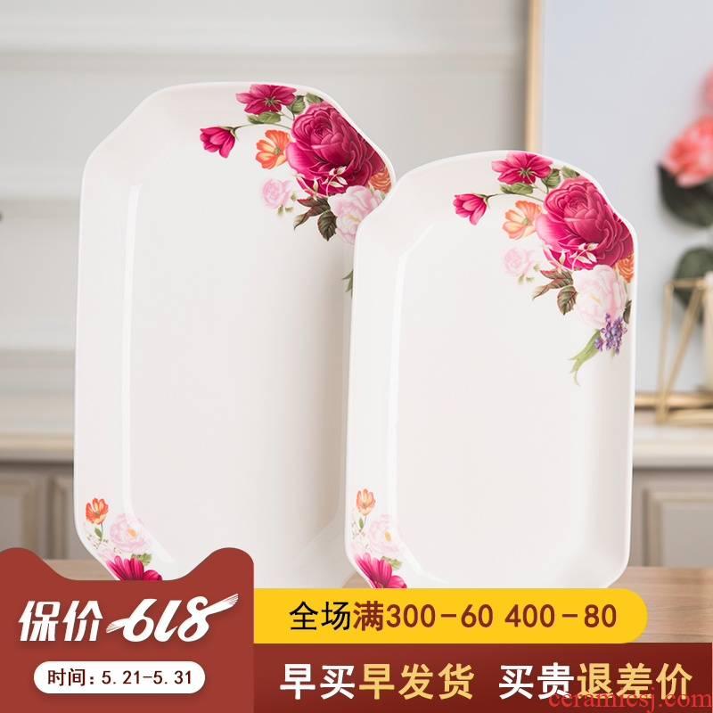 Creative home plate of jingdezhen ceramic steamed fish fish large rectangular ipads porcelain fuscescens dish plate tableware suit