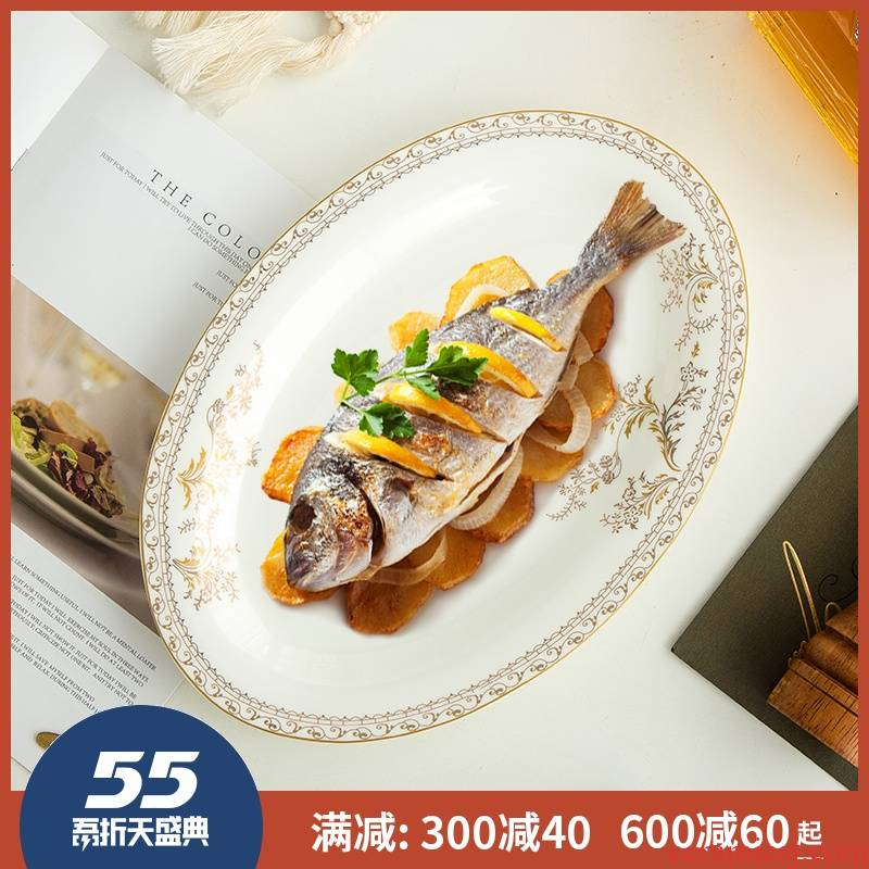 12 inches of ipads fish dish of fish dishes up phnom penh jingdezhen ceramics oval European household porcelain