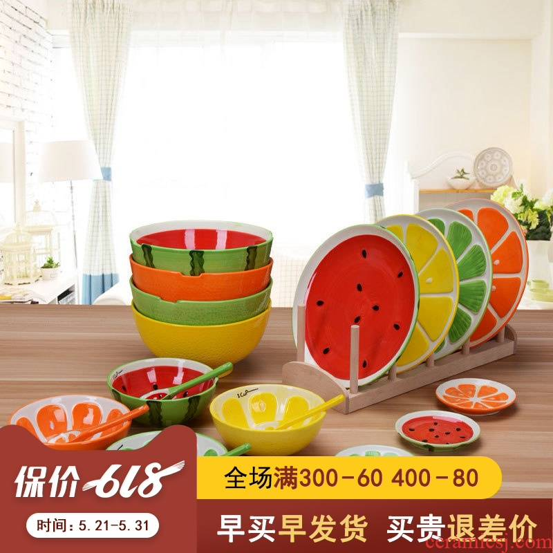 Lovely fruit ceramic tableware dishes suit individual creative watermelon bowl of soup bowl bowl plate tableware portfolio