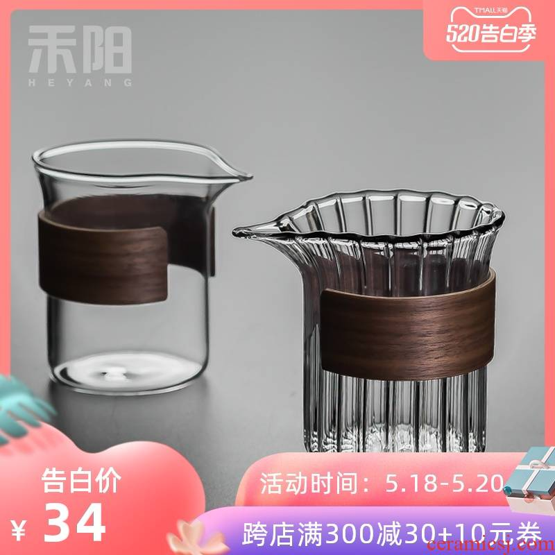 Send Yang petals fair keller thickening heat resisting Japanese kung fu tea accessories insulating glass and tea cup and cup points
