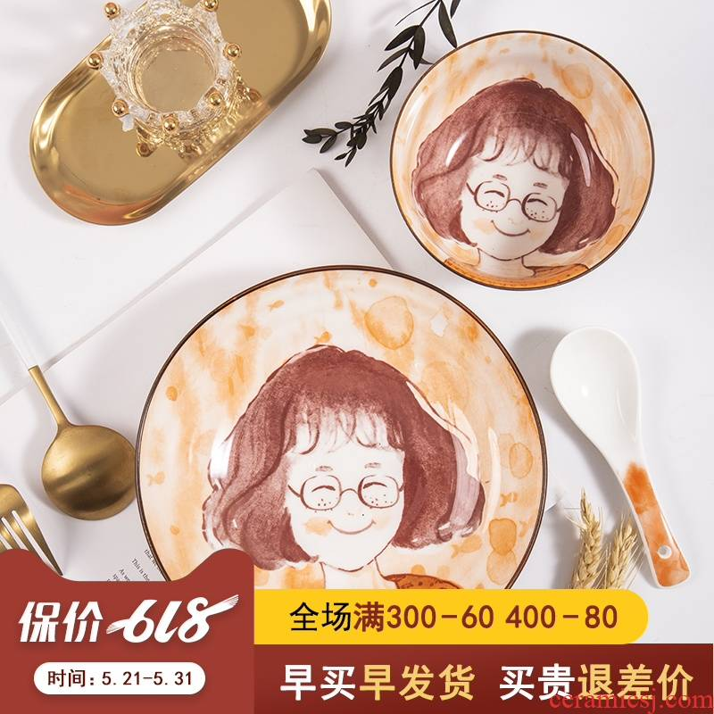 One single One set of parents and children 's delicate food bowl chopsticks tableware of bread and butter plate ceramic cartoon express picking