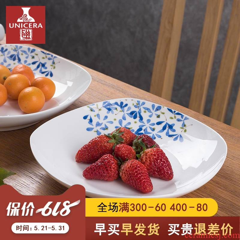 Misty rain, buds (7.5/8.5 of an inch square plate Japanese ceramic household creative ipads porcelain square plate of fruit food dish