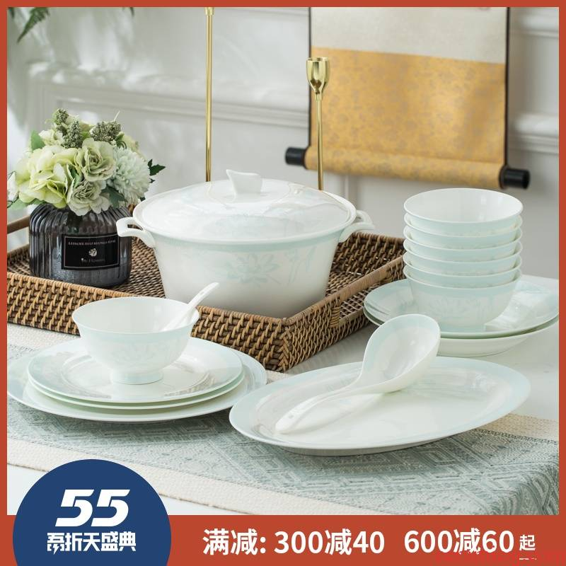 Tableware suit household pottery bowls ipads porcelain in jingdezhen Chinese glaze ten bowl dish dishes contracted to use chopsticks