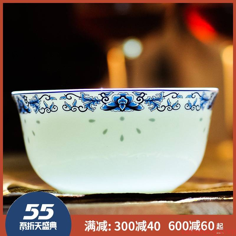 Jingdezhen ceramics ipads porcelain bowl set tableware rice bowls restoring ancient ways porringer combination of blue and white porcelain bowls to eat