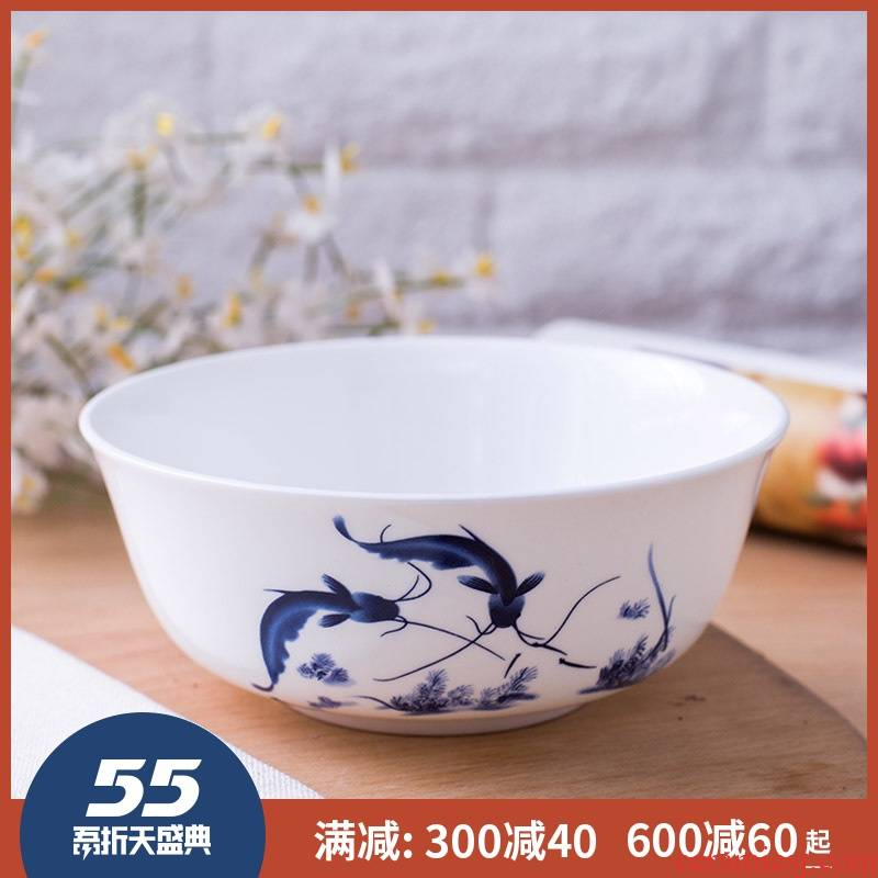 Every year more than 6 inches big rainbow such use ipads porcelain tableware set of jingdezhen blue and white porcelain bowl glair can microwave oven