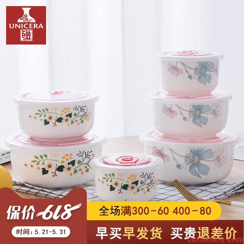 Ceramic rainbow such as bowl with cover mercifully contracted a single lunch box large household microwave preservation bowl three - piece can be customized